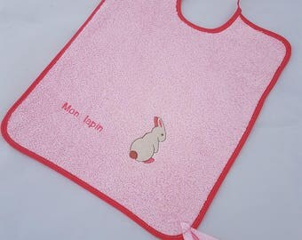 """Pink bib embroidered """"Bunny"""" and her little white Bunny"""
