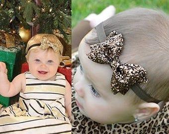 Glitter Bow - Elastic - Headband - Baby Girl Bow - Toddler - Photo - Christmas - Holiday - Baby -