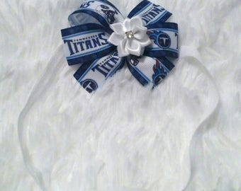 3 inch Tennessee Titans football baby bow