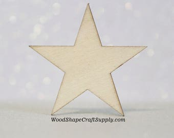 "50 -  1 Inch Wood Star - Woodcraft Supplies - DIY Craft Supply - Wood Star Shapes- 1"" Wooden Stars"