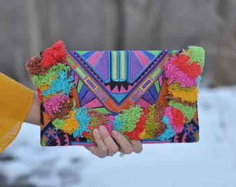 Handmade Deco Jaw Embroidered Clutch