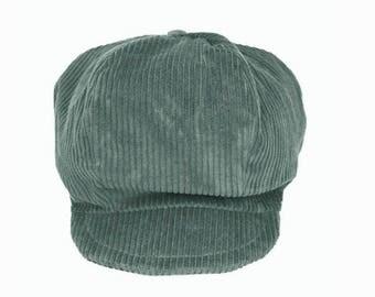 Blue duck corduroy newsboy cap