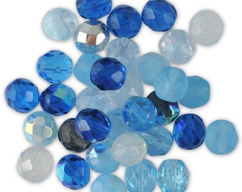 Assortment of 20 Navy Blue mix glass faceted beads / ⌀ turquoise 8 mm
