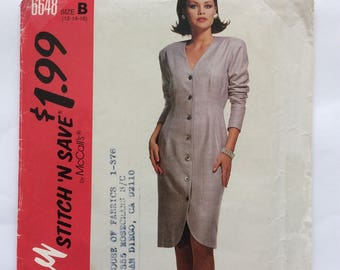 "McCall 6648 dress pattern. Uncut, vintage 1993 size 12 - 14 - 16 ""easy stitch n save"""