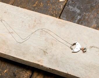 Necklace half moon RAM and carnelian - Silver 925