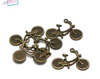 "10 charms ""bike 26 x 18 mm"", bronze 009"