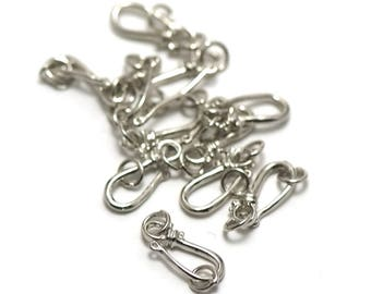 10 to 20 x 6 mm silver hook clasps