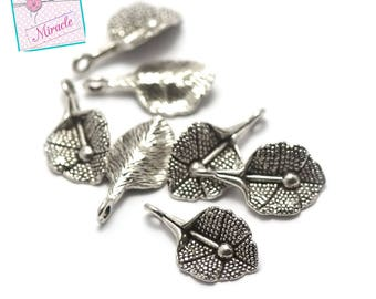 "20 charms ""leaf"", 21 x 11 mm, silver, has 074"