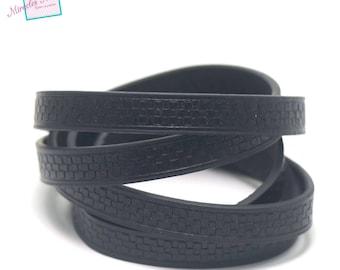 "1 m cord strap split leather 10 x 2 mm ""chessboard"", black"