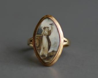 Antique Georgian 18th Century navette portrait mourning memorial ring 9k gold