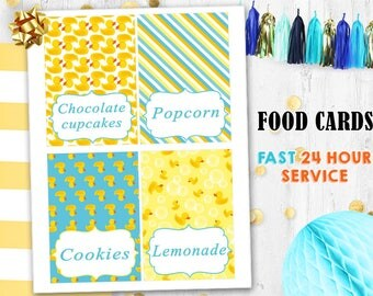 Rubber Duck Food cards Food tents Place cards Table cards