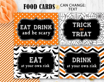 Halloween Food cards Food tents Table cards Place cards Orange black Halloween party