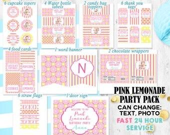 Pink Lemonade Party pack Lemonade party decorations Lemon Lemonade birthday pack