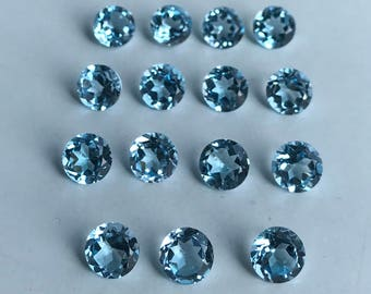 7MM Natural Sky Blue Topaz!! Round Faceted Cut Stone!! Top Shade Of Sky Blue Colour!! December Birth Stone!!