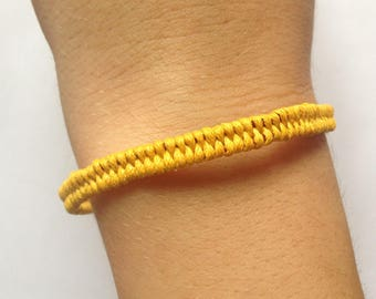 Yellow and Burgundy waxed cotton braided bracelet, bronze clasp