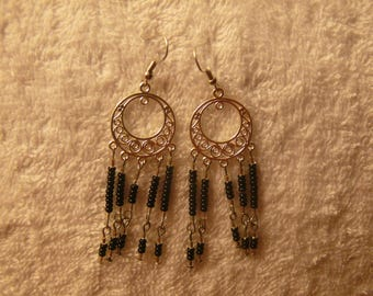 black seed beads earring