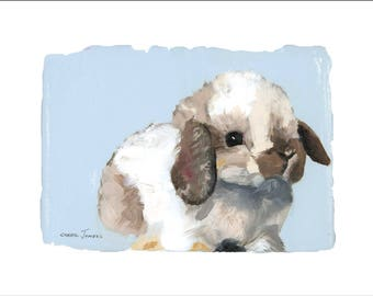 "Emmy's Bunnies, Snowball, 10x8"" Fine Art Print, Limited Edition, Hand Numbered and Signed, Giclee, Nursery Art"