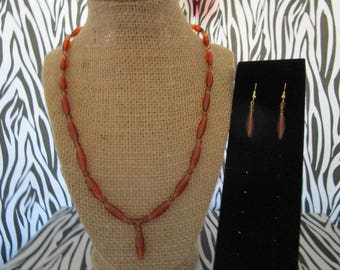 Clear Brown Beaded Necklace w/Earrings Set