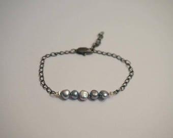 Blue faux pearls, chain bracelet