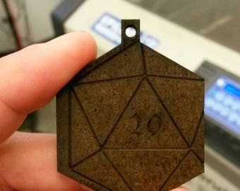 D20 wood charms