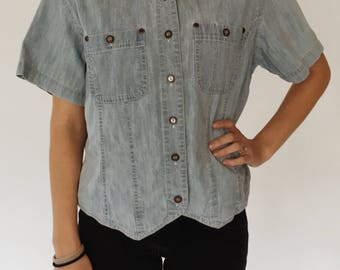 Vintage Wrangler Classic Blues Denim Crop Top Button Collard Shirt Womens Medium