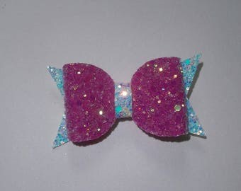 glitter hair bow, girls chunky glitter hairbow, pink and white