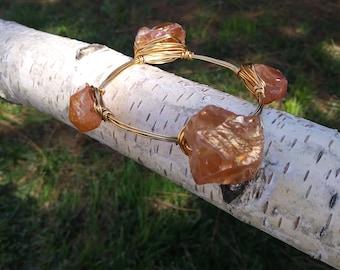 Stone and brass wire wrapped bracelet