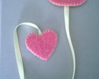 Bookmark pink OWL felt with the heart