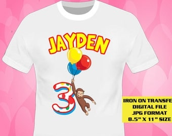Curious George Birthday Shirt Design , Curious George Iron On Transfer DIY , Digital File Only , JPG Format , George , Iron On Transfer