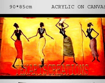 African art painted by hand yellow .orange .wallpaper African women TEXARTS