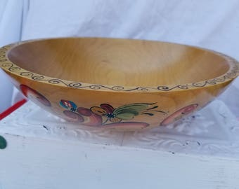 Beautifully Hand Painted Wood Bowl