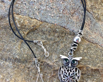 Leather cord necklace/ Leather necklace/ Owl Pendant/ Leather cord necklace pendant
