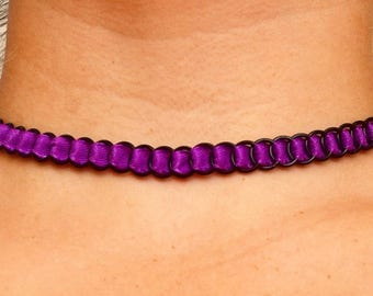 Handmade ribbon ribbonmaille choker in purple