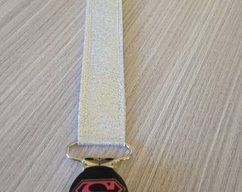 Silver sequin fabric pacifier clip