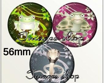 Envoi gratuit !Images pour MIROIRS - Images digitales REPTILIUM pour miroirs ou badge 56mm