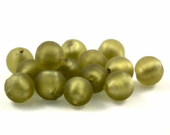 ♥X2 10mm♥ olive glass Pearl