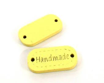 X 24mm HANDMADE wood button 1 ♥ ♥ yellow