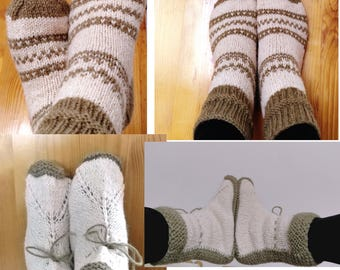 Hand knitted wool boots / socks for winter; Pure Wool 100%; Christmas gift for her / him