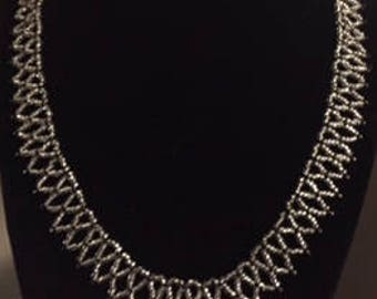 beaded lace necklace black and silver