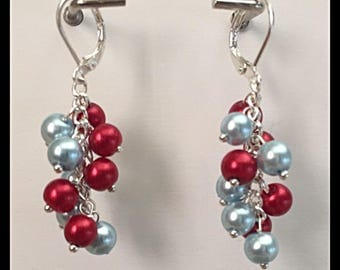 Glass beads cascade earrings