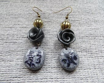 Bronze Pebble earrings Chinese