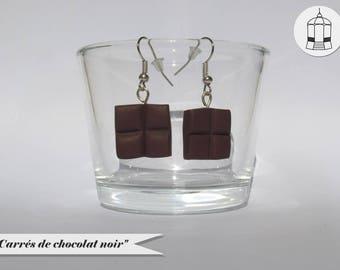 Boucles d'oreilles - Carrés de chocolat