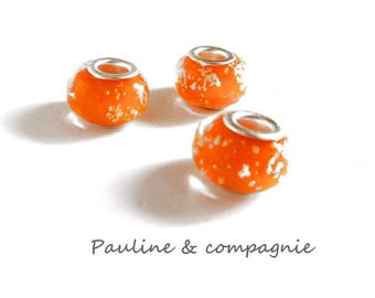 3 orange lampwork glass beads