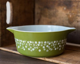 Vintage Pyrex 475-B Spring Blossom Green- Crazy Daisy Casserole Dish