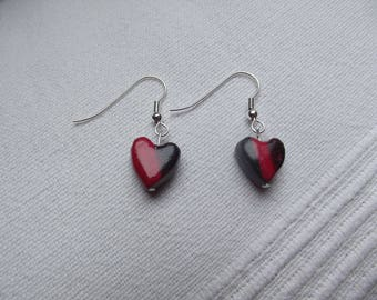Red and black heart Stud Earrings