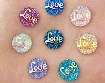"40PCS 12mm AB Resin Round ""LOVE"" stone Flatback Button Craft Sewing Button Scrapbooking Cabochon flatback Applique sewing"