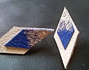 Leather Loxos blue, white and gold earrings