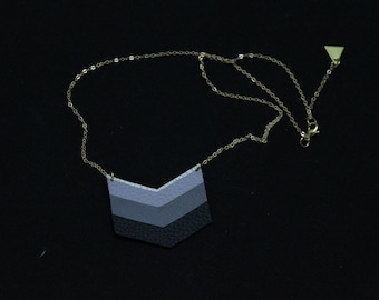 Necklace three Chevron black and grey leather