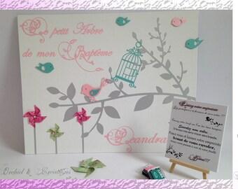 Tree theme bird prints and windmill - christening