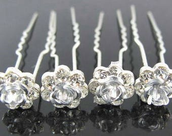 Crystal Rose Flower Perfect for - Bridal - Wedding - Prom - Hair Pins - Clips